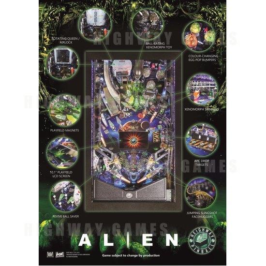 Heighway Pinball Unveiled Alien Pinball Machine - Alien Pinball Flyer by Heighway Pinball - 2