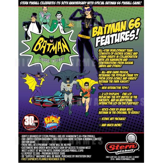 Dead Flip to show live game play of Batman 66 by Stern Pinball - Batman 66. Photo: Stern Pinball/Facebook - 7