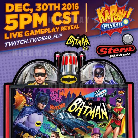 Dead Flip to show live game play of Batman 66 by Stern Pinball - Dead Flip: Pinball Streaming announcement. Picture: Facebook