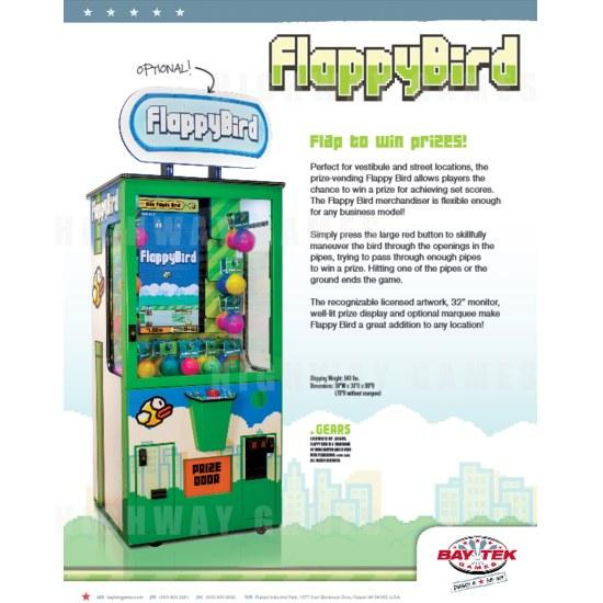 Bay Tek Launch Flappy Bird Merchandiser Arcade Machine - Flappy Bird Merchandiser Arcade Machine Brochure