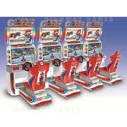 The Mario Kart Grand Prix DX links up to four cabinets.
