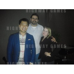 From left: Ryan Jang, Regional Manger (Asia), Andamiro; Steve Josivofski, Managing Director of Highway; Shonavee Simpson, Editor of Highway Games.