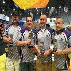 Golden Tee LIVE World Champion finalists Marc Muklewicz (fourth place), Andy Haas (first place), Andy Fox (third place), Paul Luna (second place).