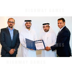 Pictured: Ahmad Hussain Bin Essa, CEO, Global Village, and Prakash Vivekanand, managing director, The Zone FZCO, receiving the official trade licence of MENALAC from Mohammed Khalid Mohammed Bin Sulaiman, senior manager - member relations, Dubai Chamber of Commerce and Industry, and Rami Muhanna, executive - member relations, Dubai Associations Centre