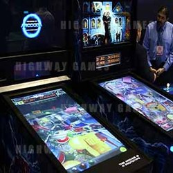 The Pinball Arcade Steam edition against the prototype Arcooda Pinball Arcade at 2016 IAAPA. Picture: Arcooda.
