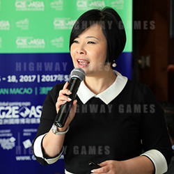 Josephine Lee, Executive Vice President of Reed Exhibitions, Greater China, speaking at the G2E Asia press conference. Picture: Supplied